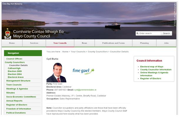 Figure 3. Contact Details for Councillor Cyril Burke on Mayo County Council Website